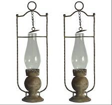 2 style ancienne lanterne lampe tempete de jardin de table a bougie en fer 46cm