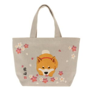 Kotobuki Japanese Mini Tote Student Women Handbag Cotton Sakura Shiba Inu Dog