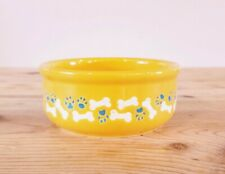 Ceramic Dog Bowl NEW 5 Inch Bones Paws Painted Yellow Blue White