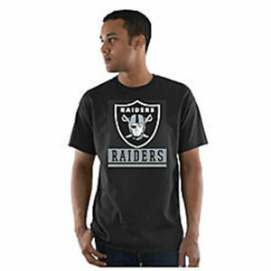 NFL Los Angeles Raiders Men Short Sleeve Black T-Shirt 100% Cotton - Large