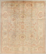 Vegetable Dye Muted Green Oushak Turkish Hand-Knotted Oriental Wool Rug 9x10 New