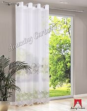 Sheer Voile Curtain Ready Made Linen Effect Embroidered Ring Top Window Panel