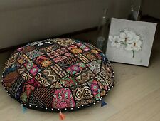 Indian home decor patchwork floor pouf cotton foot stool embroidered cushion 32""