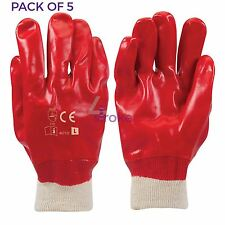 5 x Red PVC Gloves Full Dipped Best Safety Protective Workwear PPE