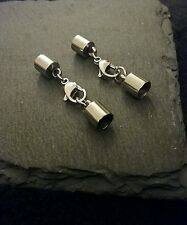 2 Sets of Stainless Steel End Caps for 5.5mm Cord with 13mm Lobster Clasp UK