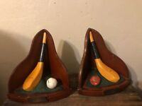 Vintage Golf Motif Bookends Club/Ball Ceramic Weighted Decorative Library Study