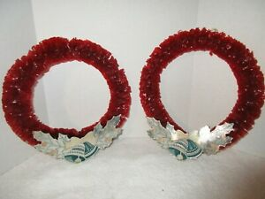 2 Vintage Red Cellophane Christmas Wreaths Holiday Decorations