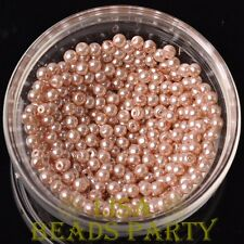 New 500pcs 4mm Round Czech Glass Pearl Loose Spacer Beads Pearl Pink