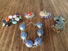 Lot of Chinese silver enameled bracelet, brooches & a gold fish, Republic period