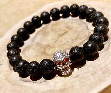 Mens Lava Rock Natural Energy Power Bead Stone Skull Bracelet Wristband for Guys
