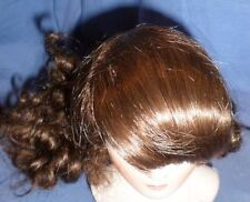 "doll wig/ human hair 10.5"" to 11"" fringe, curled ponytail/EHP dunkelbraun 27/28"
