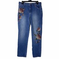 Gloria Vanderbilt Womens Blue Amanda 2.0 Slim Leg Embroidered Jeans Size 12
