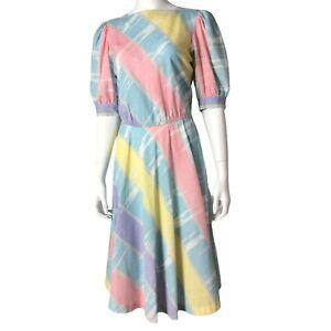 🎀 Vintage 80s 90s Pastel Kuwaii Party Tea Dress Rainbow Cute Easter Retro 🎀