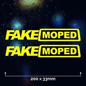 2 x FAKE MOPED Car Sticker Vinyl Decal Funny Bumper Window Bike Ride Joke Yellow