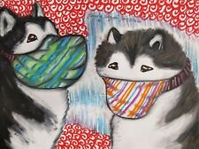 Alaskan Malamute Masks Aceo Print Dog Mini Art Card 2.5X3.5 by Ksams Collectible