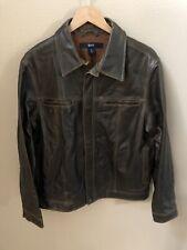 Vintage GAP Genuine  BROWN Leather Jacket Lined Men's Medium Motorcycle