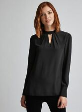 Dorothy Perkins Womens Tall Black Top Long Sleeve Round Neck Evening Blouse