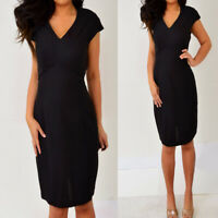 JEFFREY & DARA Black Extended Capped Sleeves V Neck Pencil Sheath Dress 10 6 S