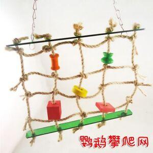 Hanging Rope Climbing Net Swing Ladder Parakeet Budgie Macaw Play bird Toys D248