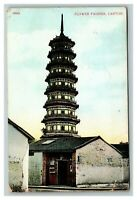 Vintage Early 1900's Postcard Flower Pagoda Canton Guanzhou China RARE STAMP
