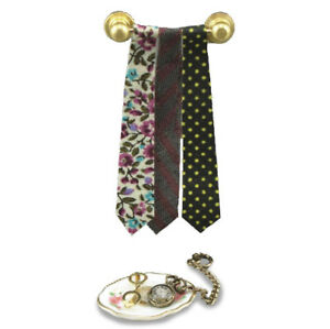 Dollhouse Miniature Reutter Tie Rack with 3 Ties & Accessory Dish 1.447/6