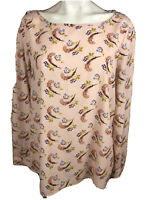 Banana Republic Pink Long Sleeve Silky Satin Floral Print Blouse Top F449