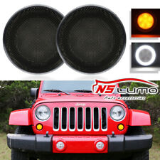 2xAmber Led Turn Signal Light White Halo Anello DRL for Jeep Wrangler JK 07-17