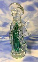 "7"" Murano Style Clear & Green Hand Blown Glass Praying Angel Figurine Halo EUC"