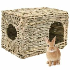 Small Pet Hamster Cage Straw Nest House Chew Toy Foldable Woven Grass 37x29x26cm