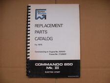 Norton Commando 850 Mk3 partes Libro Para 1975 Modelos