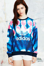 adidas Originals  Trefoil Logo Sweatshirt Tie Dye Jumper Sweater Blue & Pink