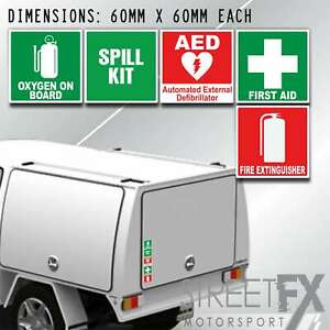 Fire Extinguisher First Aid Spill AED Oxygen Sticker Sign 60mm OHS WHS Safety