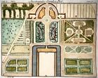1744 B. Cole sculp. Botany: Garden Design Architecture Hand coloured engravings