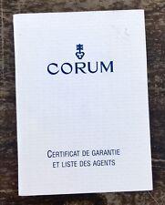 CORUM Guarantee Certificate Booklet 2001 Admiral's Cup Power Tourbillon Bridge