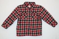 """Gymboree """"Rock N Roll"""" Fleece Lined Red Plaid Flannel Button Up Jacket Shirt, 2T"""