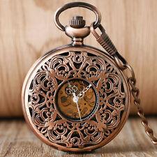 Vintage Red Copper Flower Hollow Women Mechanical Hand Wind Pocket Watch Chain