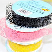 5PCS DIY Washi Lace Decor Sticker Scrapbooking Paper Tape Adhesive Ornament Fine