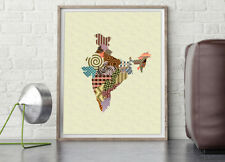 India Map Art Print New Delhi Travel Poster Abstract Painting Cubist Home Decor
