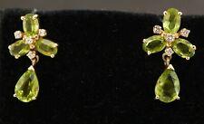 14K gold beautiful 5.74CTW VS/G diamond & peridot cluster drop dangle earrings