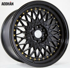 17X9 +25 AODHAN AH05 4X100 BLACK RIM FIT BMW E30 2002 MIATA CIVIC SI MINI COOPER