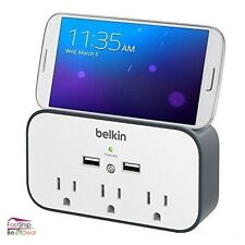 Belkin Surge Protector 3 Outlet Wall Mount 2 USB Charging Port Cradle Portable