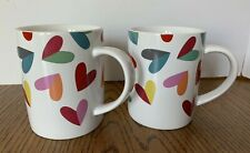 2 Crate and Barrel Coffee Tea Mugs With Colorful Hearts Collectable Decorative