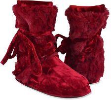 MUK LUKS Tonal Fur Wrap Slipper Boots Velvet Red Color Size XL  NWT