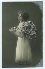 1910s Vintage Glamour PRETTY YOUNG LADY in Long Dress Fashion photo postcard