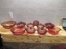 New Listing15 Piece Vision Amber Cranberry Cookware Serving Bonus Pyrex Mixing Bowl