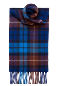 TARTAN Scarf BUCHANAN BLUE 100% Lambswool Made in Scotland Lochcarron