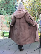 WOMENS 2XL Hooded Shearling Lambskin Sheepskin Lamb Coat Jacket Ladies IR4254