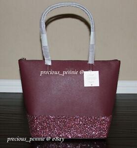 💚 KATE SPADE Greta Court Penny Tote Bag Glitter Purse Handbag Cherrywood NWT