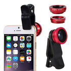 3 in1 Fisheye Wide Angle Macro Camera Clip-on Lens For iPhone Smart Phone Tablet