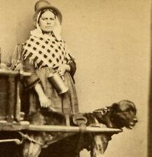 WOMAN WITH DOG PULLING MILK CART. CDV. HOLLAND.
